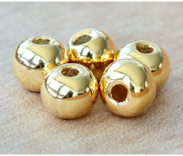12mm Round Metalized Ceramic Beads, Gold Plated, Pack of 3