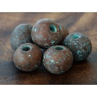 12mm Round Metalized Ceramic Beads, Green Patina