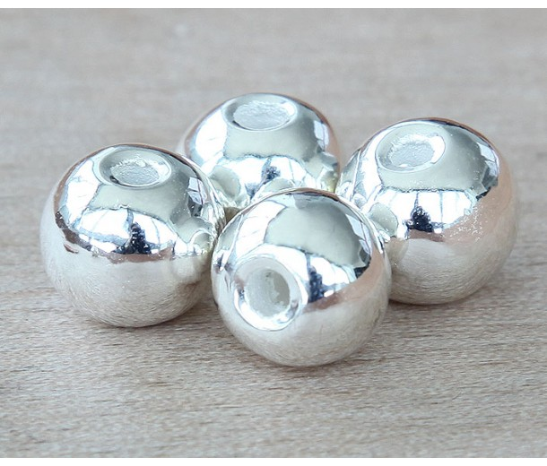 12mm Round Metalized Ceramic Beads, Silver Plated