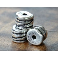 13x10mm Grooved Barrel Metalized Ceramic Bead, Antique Silver