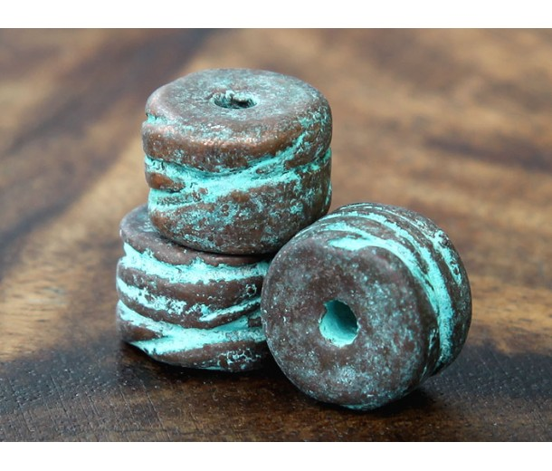 13x10mm Grooved Barrel Metalized Ceramic Bead, Green Patina
