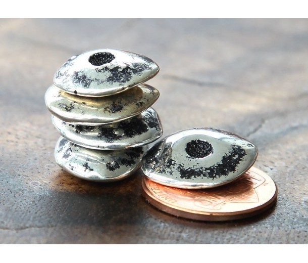 18x14mm Cornflake Disk Metalized Ceramic Beads, Antique Silver