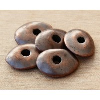 18x14mm Cornflake Disk Metalized Ceramic Beads, Bronze, Pack of 4