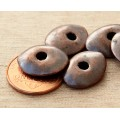 18x14mm Cornflake Disk Metalized Ceramic Beads, Bronze, Pack of 3