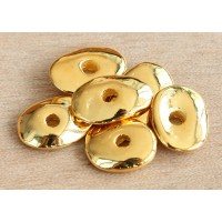 18x14mm Cornflake Disk Metalized Ceramic Beads, Gold Plated, Pack of 3