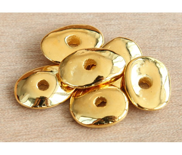 18x14mm Cornflake Disk Metalized Ceramic Beads, Gold Plated