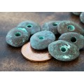 18x14mm Cornflake Disk Metalized Ceramic Beads, Green Patina, Pack of 4