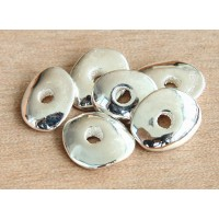 18x14mm Cornflake Disk Metalized Ceramic Beads, Silver Plated, Pack of 4