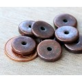 13mm Round Disk Metalized Ceramic Beads, Bronze Plated, Pack of 6