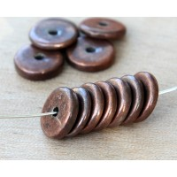 13mm Round Disk Metalized Ceramic Beads, Bronze Plated