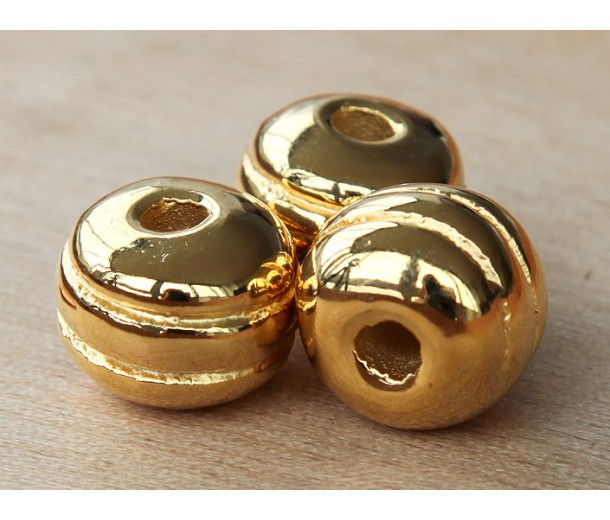 16mm Grooved Round Metalized Ceramic Bead, Gold Plated