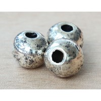 15mm Round Metalized Ceramic Bead, Antique Silver, 1 Piece