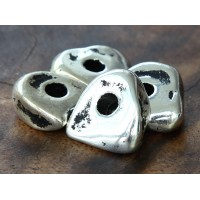 16x6mm Nugget Metalized Ceramic Beads, Antique Silver, Pack of 3