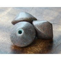 18x12mm Bicone Metalized Ceramic Bead, Green Patina