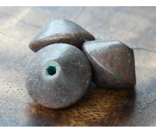 18x12mm Bicone Metalized Ceramic Bead, Green Patina