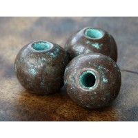 20mm Round Metalized Ceramic Bead, Green Patina
