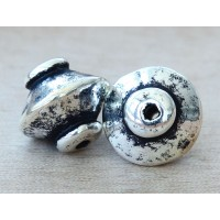 18x20mm Ridged Bicone Metalized Ceramic Bead, Antique Silver
