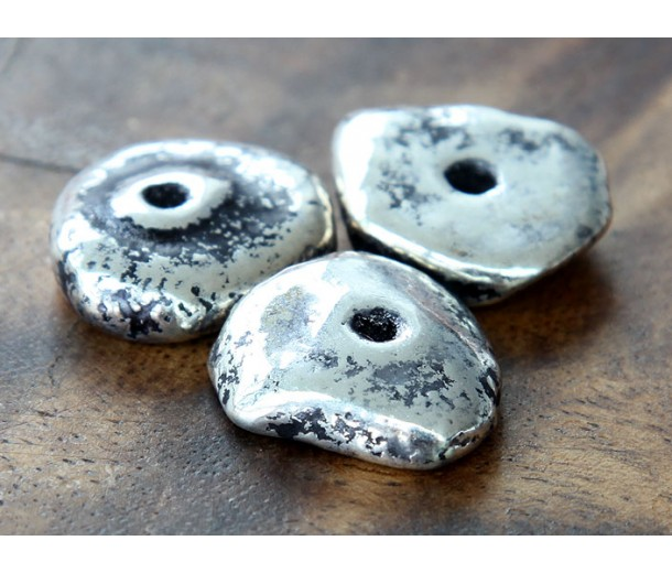 20mm Chunky Disk Metalized Ceramic Bead, Antique Silver
