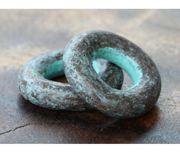 24mm Ring Metalized Ceramic Bead, Green Patina
