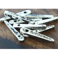 30mm Spike Metalized Ceramic Beads, Antique Silver
