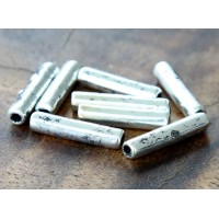 16x4mm Thin Tube Metalized Ceramic Beads, Antique Silver, Pack of 5