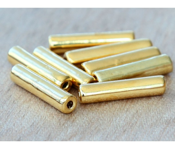16x4mm Thin Tube Metalized Ceramic Beads, Gold Plated, Pack of 5