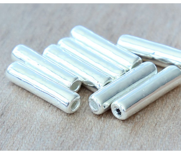 16x4mm Thin Tube Metalized Ceramic Beads, Silver Plated