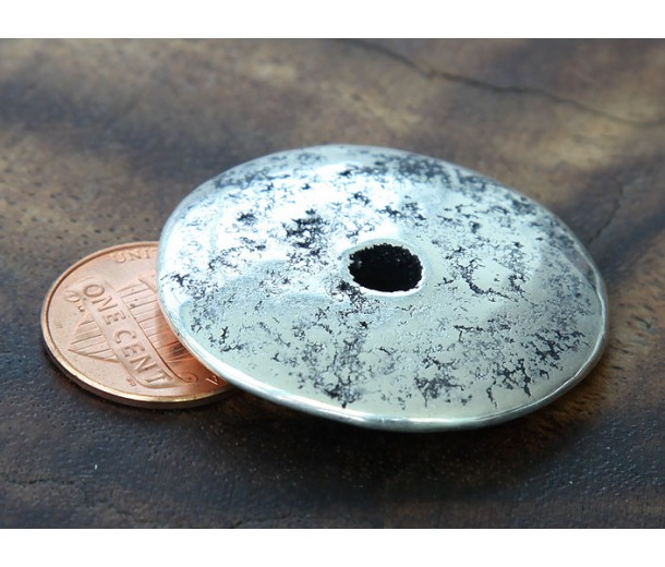 35mm Extra Large Disk Metalized Ceramic Focal Bead, Antique Silver