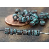 3mm Seed Metalized Ceramic Beads, Green Patina