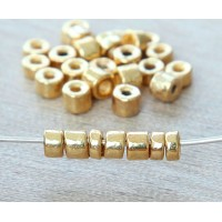 3mm Seed Metalized Ceramic Beads, Gold Plated