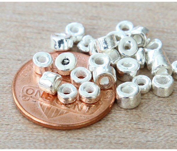 3mm Seed Metalized Ceramic Beads, Silver Plated, 5 Gram Bag