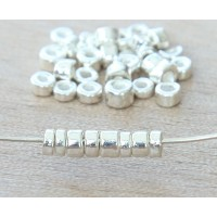 3mm Seed Metalized Ceramic Beads, Silver Plated