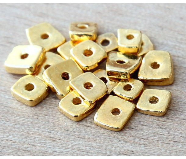 4mm Chip Metalized Ceramic Beads, Gold Plated