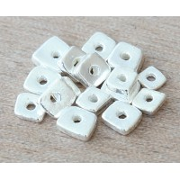 4mm Chip Metalized Ceramic Beads, Silver Plated
