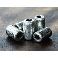 10x6mm Thick Barrel Metalized Ceramic Beads, Antique Silver