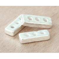 18x6mm 3-Hole Spacer Bar Metalized Ceramic Bead, Silver Plated