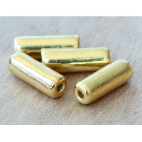 16x7mm Thick Tube Metalized Ceramic Beads, Gold Plated, Pack of 4