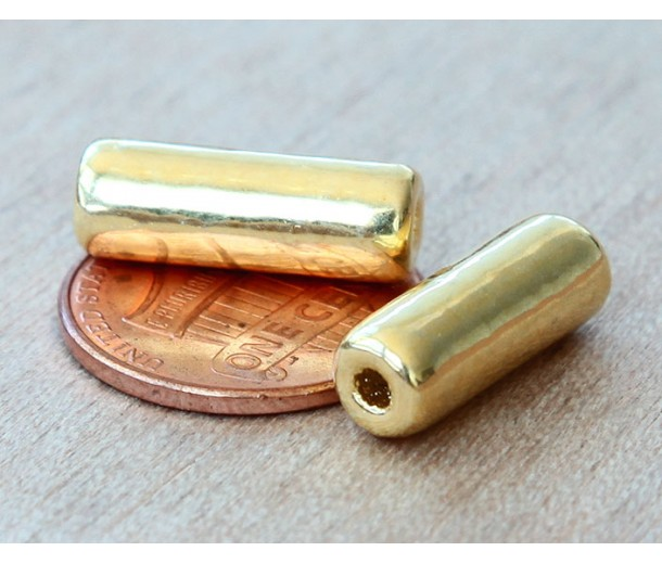 16x7mm Thick Tube Metalized Ceramic Beads, Gold Plated