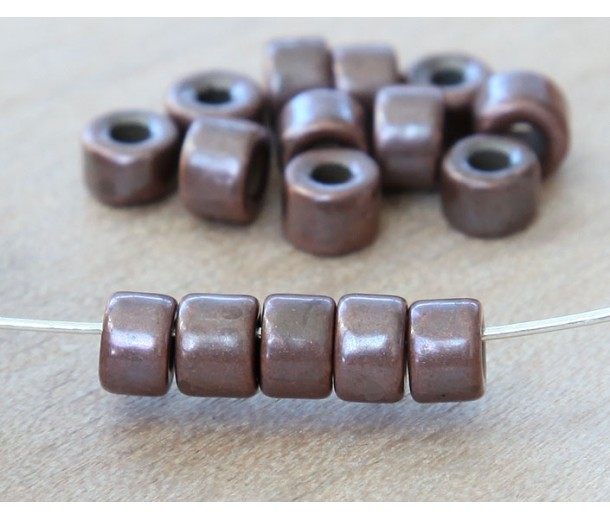 6x4mm Mini Barrel Metalized Ceramic Beads, Bronze Plated, Pack of 20