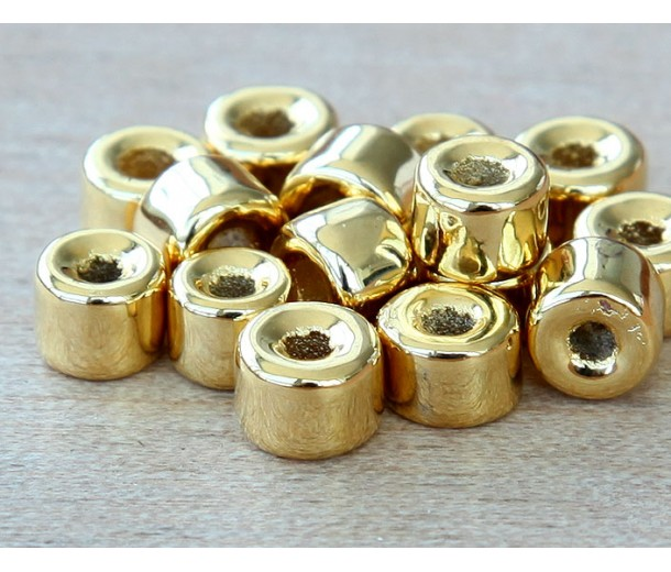 6x4mm Mini Barrel Metalized Ceramic Beads, Gold Plated