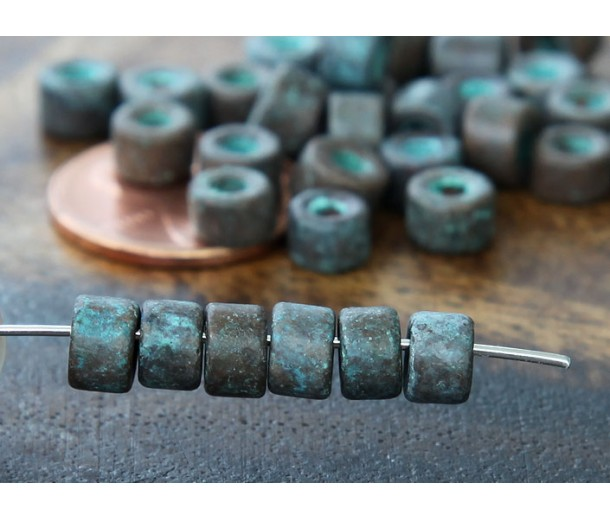 6x4mm Mini Barrel Metalized Ceramic Beads, Green Patina