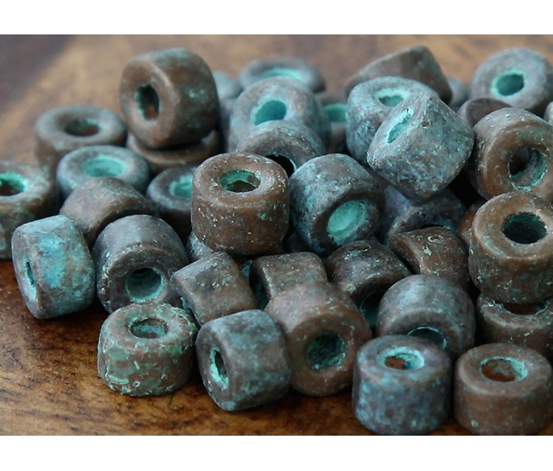 6x4mm Mini Barrel Metalized Ceramic Beads, Green Patina, Pack of 20