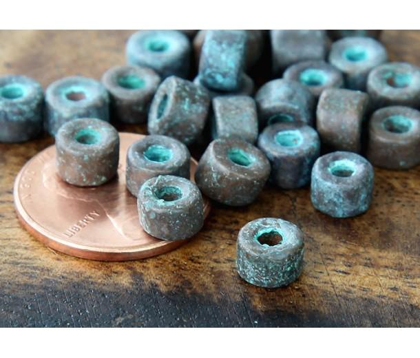 6x4mm Mini Barrel Metalized Ceramic Beads, Green Patina