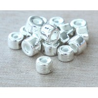 6x4mm Mini Barrel Metalized Ceramic Beads, Silver Plated, Pack of 20