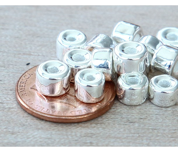 6x4mm Mini Barrel Metalized Ceramic Beads, Silver Plated