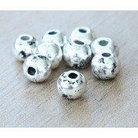 6mm Round Metalized Beads, Antique Silver