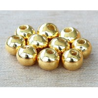 6mm Round Metalized Ceramic Beads, Gold Plated