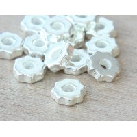 6mm Gear Metalized Ceramic Beads, Silver Plated