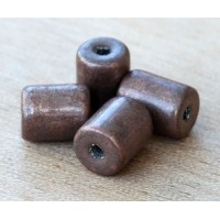 9x7mm Thick Barrel Metalized Ceramic Beads, Bronze Plated