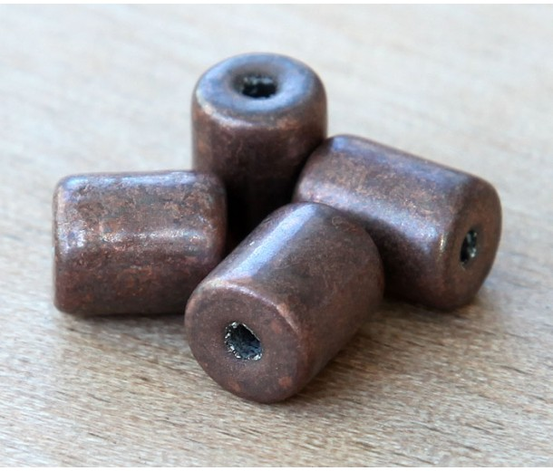 9x7mm Thick Barrel Metalized Ceramic Beads, Bronze Plated, Pack of 6
